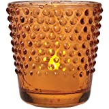 Luna Bazaar Vintage Glass Glass Candle Holder (2.5-Inch, Candace Hobnail Design, Mango Orange) - For Use with Tea Lights - For Parties, Weddings, and Homes