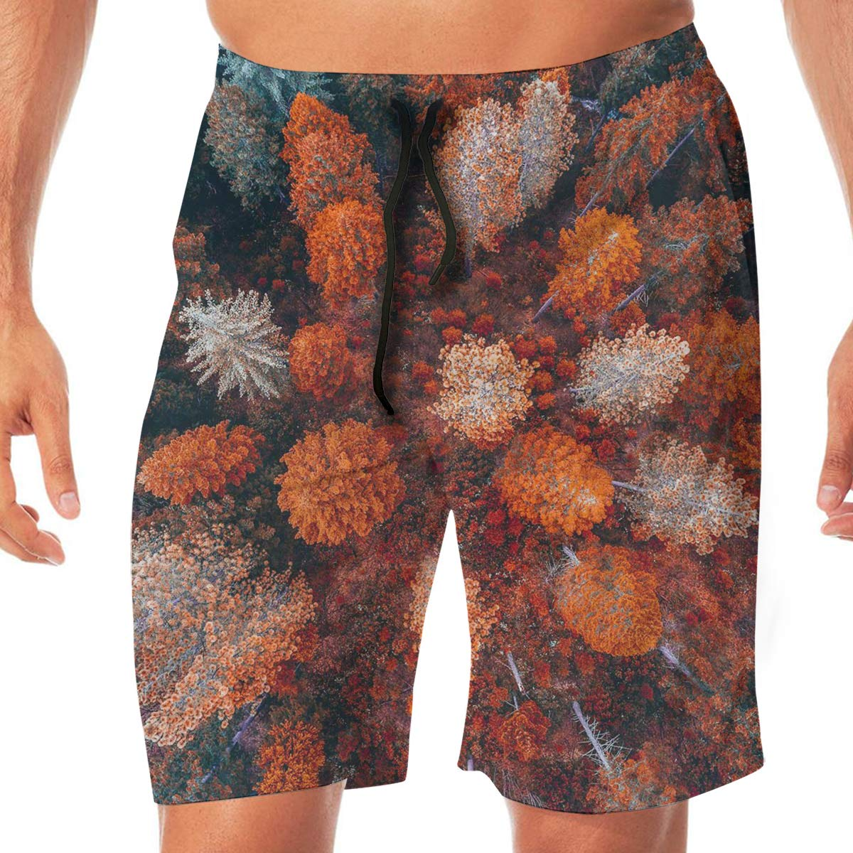 SEXTDSFD Autumn Aesthetic Mens Running Casual Short Beach Pants Swim Trunks Drawstring Board Shorts Swimwear
