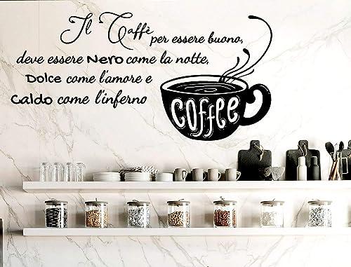 Adesivi Murali Frasi Cucina Caffe Wall Stickers Caffe Nero Caldo