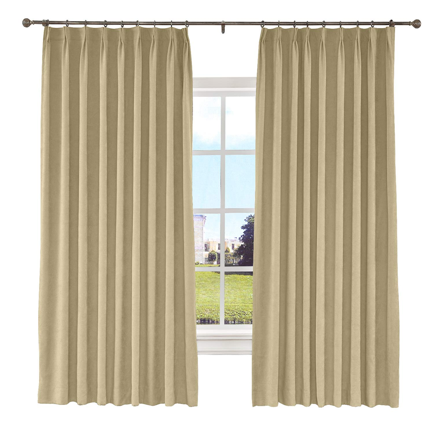 Macochico Pinch Pleated Curtain Blackout Lined Polyester Cotton Drapes for Bedroom Noise Reducing for Living Room Bedroom Meetingroom Patio Door,Burly Wood 100W x 84L Inch (1 Panel)
