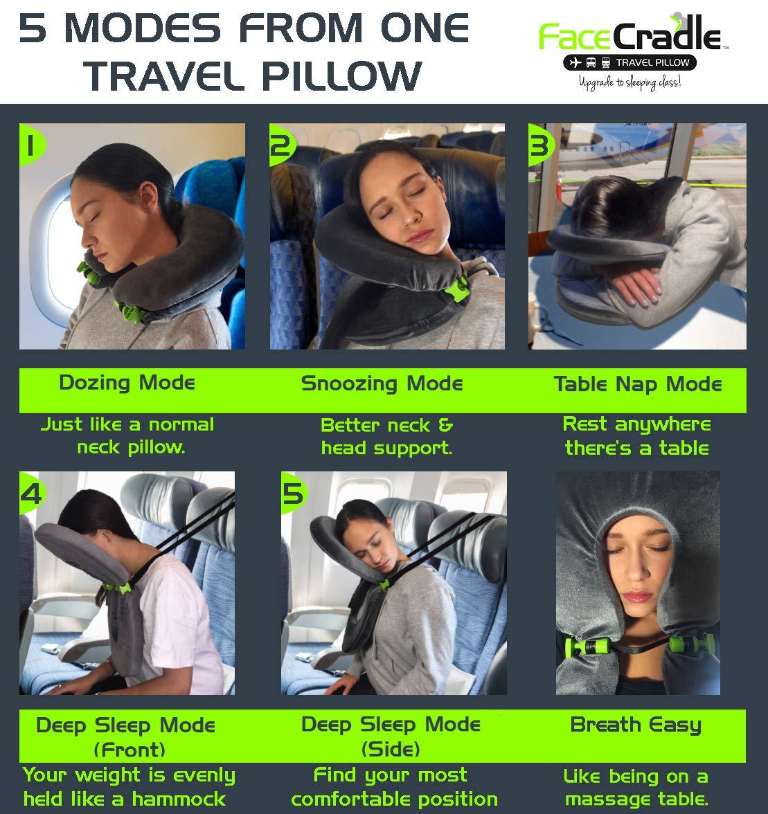 Sleep Forward para viajar en avi/ón soporte Better Neck autom/óvil 5 modos m/ás autob/ús funci/ón m/últiple Modelo original FaceCradle tren o para tomar una siesta en cualquier mesa.