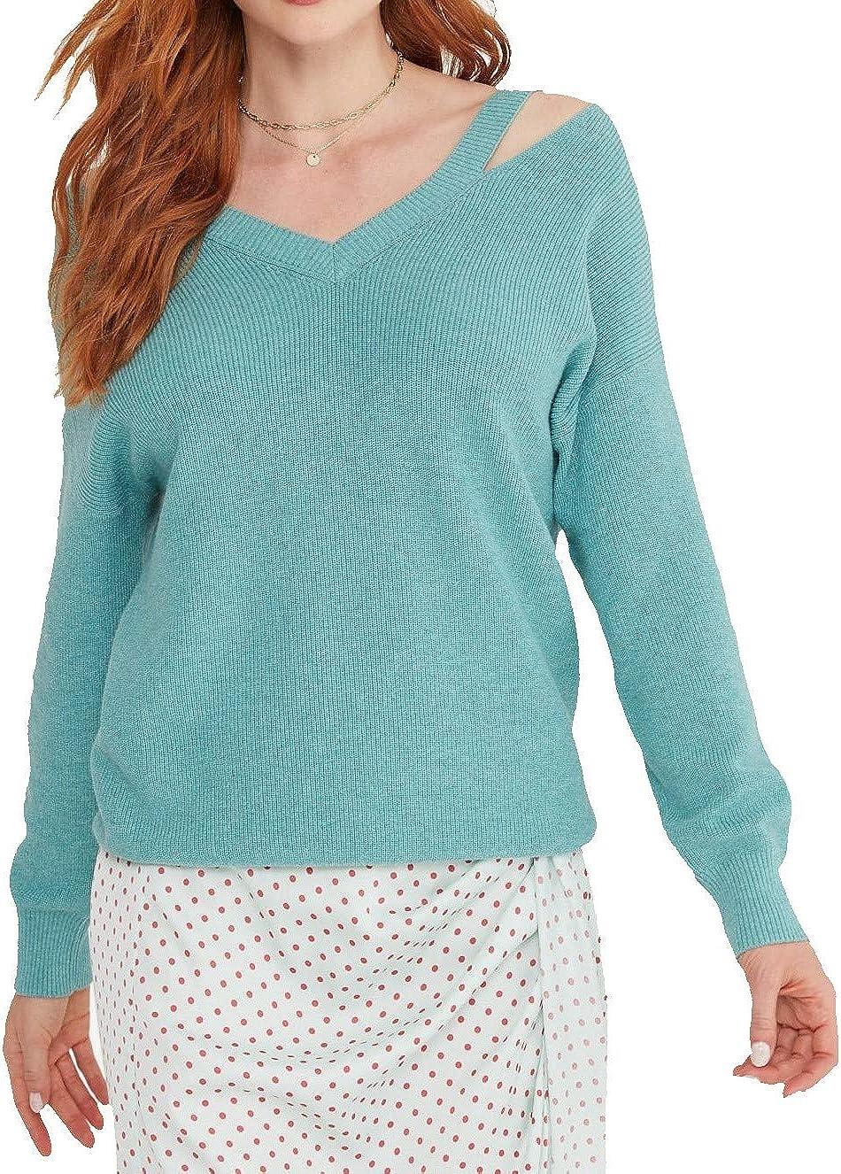 Cashmeren Women's Cotton Cashmere V-Neck Cut-Out Shoulder Boatneck Pullover