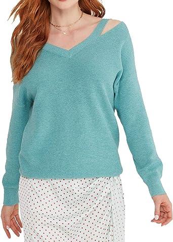 Cashmeren Women's Cotton Cashmere V Neck Cut Out Shoulder Boatneck Pullover