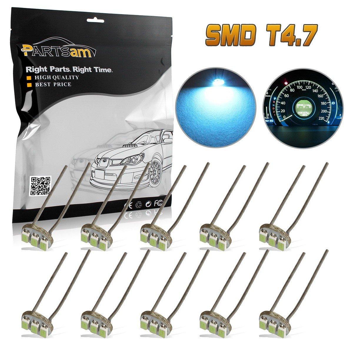 Partsam 20Pcs 4.7mm-12v Car White Mini Bulbs Lamps Indicator Cluster Speedometer Backlight Lighting For GM GMC
