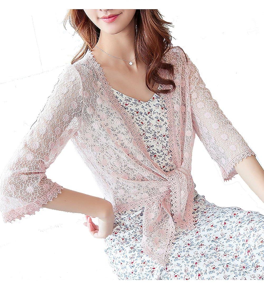 ChicChic Womens 3/4 Sleeve Lace Bolero Shurg Jacket Blouse Tie up Front Open Kimono Cardigan