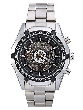 82b52c76d Carrie Hughes Men's Black Watch Luminous Hand Steampunk Skeleton Waterproof Automatic  Mechanical Watch (FXN152)