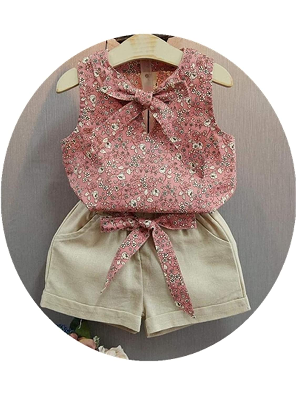 Girls Clothes Flower Sleeveless Tops Shorts Summer Style New Casual Children Clothing Set Kids Suits for 2 3 4 5 6 7 8 Year