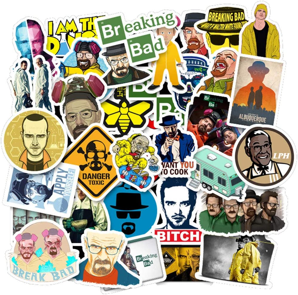 Breaking Bad Laptop Stickers 50pcs Pack Vinyl Skateboard Water Bottle Computer Travel Case Guitar Snowboard Luggage Car Bike Phone Graffiti Decal