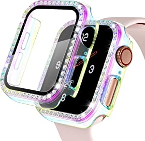 【2 Pack】 Easuny Screen Protector for Apple Watch 38mm Series 3 2 1 - Bling Diamond Cover Overall Protective Accessories for iWatch Women, Colorful/Colorful