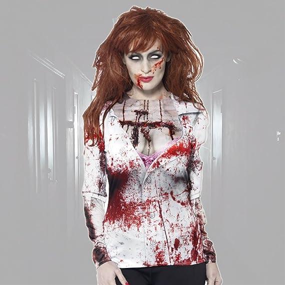 NET TOYS Camiseta Zombie Mujer Camisa ensangrentada Halloween M 40/42 Blusa terrorífica con Sangre Outfit de Terror para Mujer Manga Larga Muerto Viviente Ropa Fiesta Halloween: Amazon.es: Juguetes y juegos