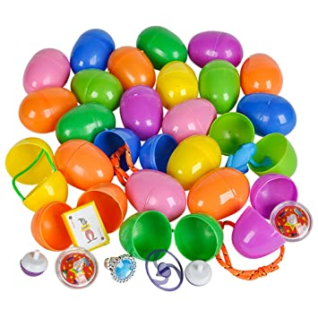 12 ~ Toy Filled Easter Eggs ~ Approx 2.25 Inch ~ Assorted Color Eggs ~ New