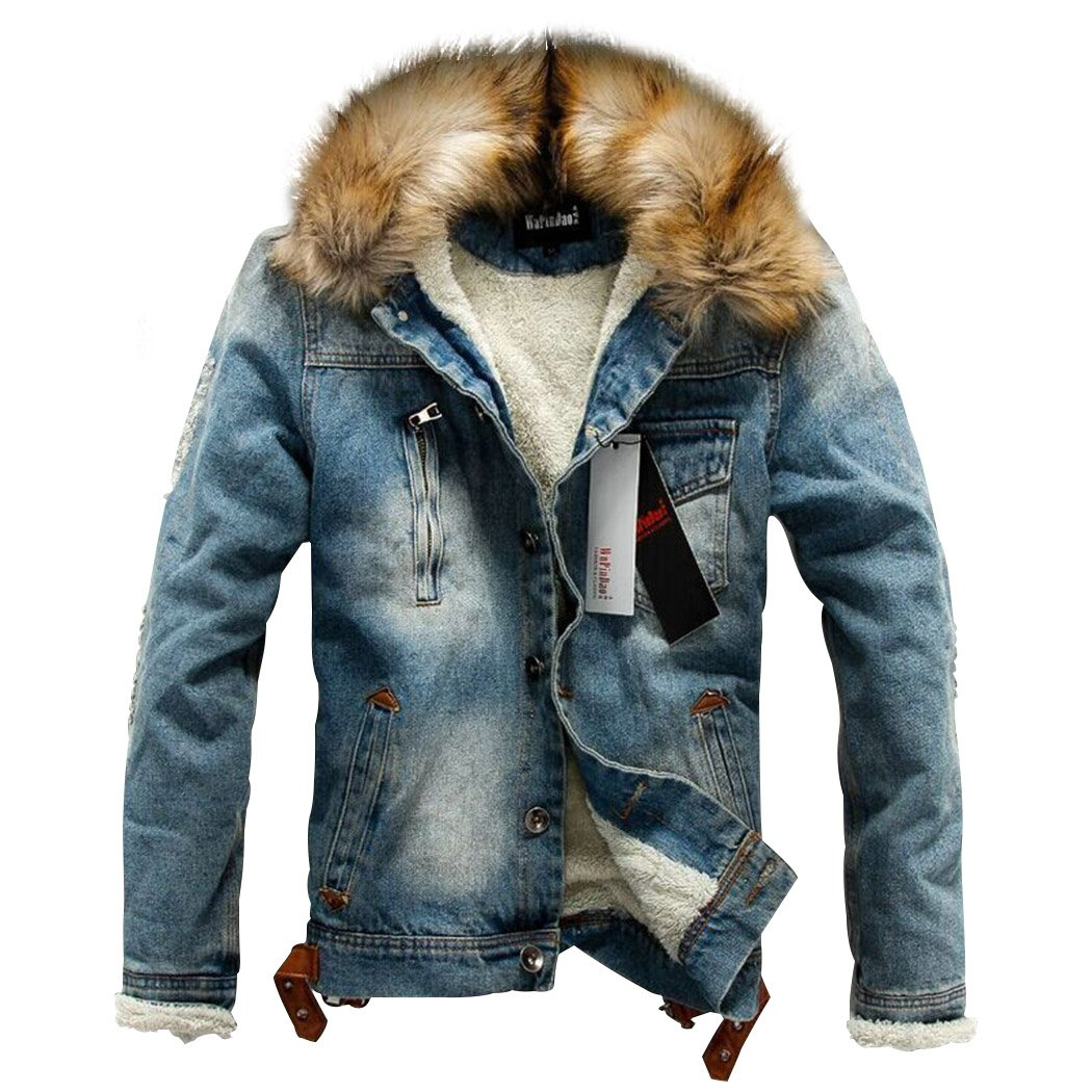 Sun Lorence Men's Winter Fleece Lined Fur Collar Button Down Patch Denim Jacket Coats Blue M