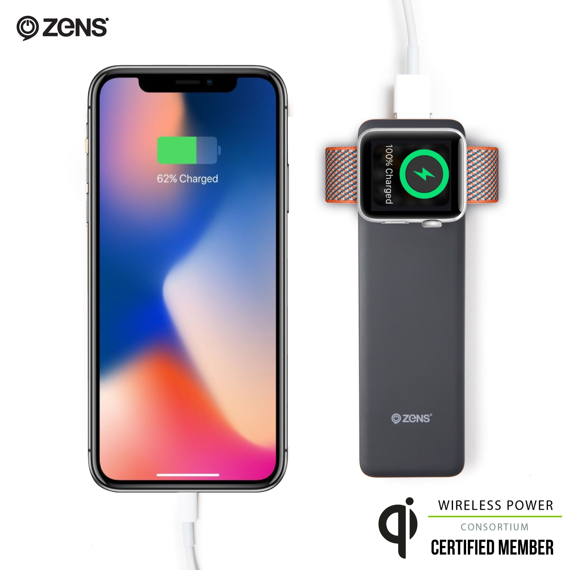 Wireless Apple Watch Charger w/Integrated 4000 mAh Power Bank by ZENS | Works w/Apple Watch Series 3 | Allows for Simultaneous Wired Smartphone Charging including iPhone 8/8+/X | Apple MFi Certified