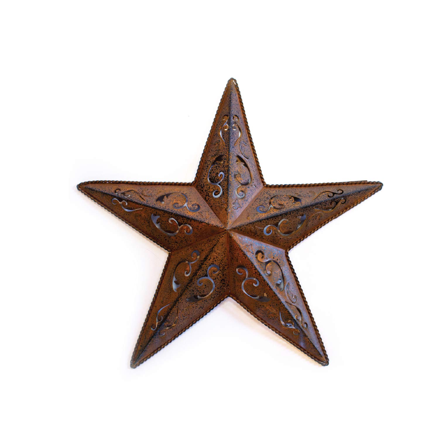 "RUSTY LACY METAL BARN STAR 18 - 1X 18"" rustic cut out style country indoor outdoor Christmas home decor. Interior exterior lacey metal stars decorations look great hanging on house walls fence porch"