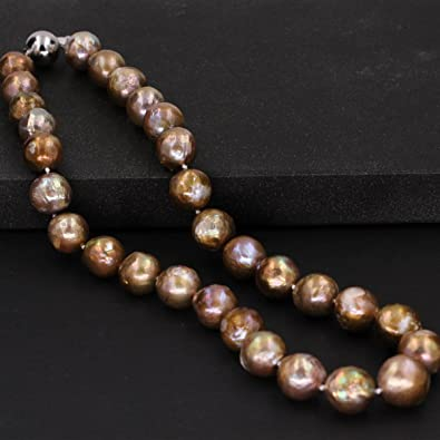 15-18x25-30mm largenatural bronze color freshwater souffle pearl necklace,baroque pearl necklace,sterling silver wire wrap necklace.hergift
