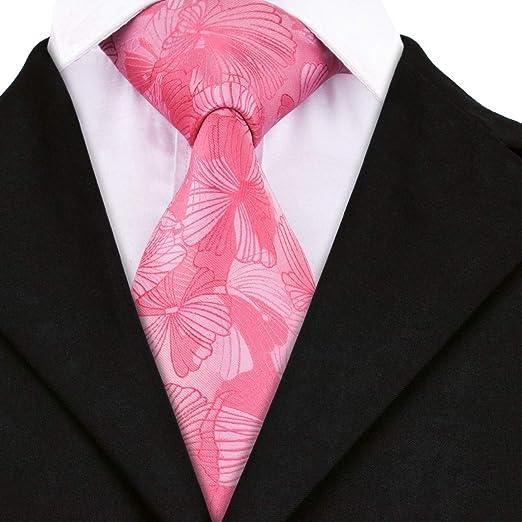AK Hombres S Tie Sn-1634 Tie Pink Floral Tie Pañuelo Gemelos Set ...