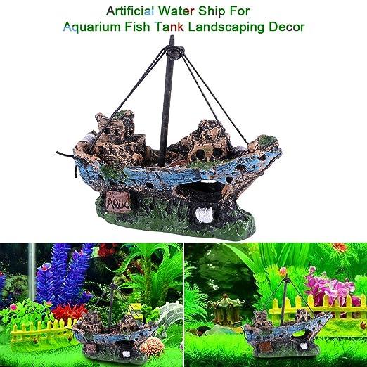 Sixrun Acuario Artificial de Agua Decoraciones Ornamento del Tanque de Peces Restos naufragio Barco hundido Destructor Decoración de paisajismo: Amazon.es: ...