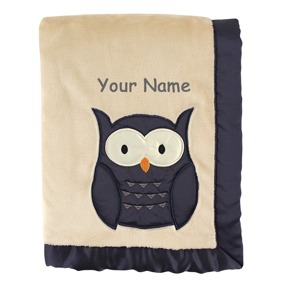 Personalized Hudson Baby Tan and Navy Blue Owl Animal Blanket with Satin Applique with Name Embroidery - 40 Inches