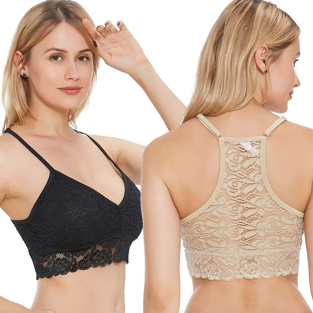 JOJOANS Ultra-Light and Breathable Lace Bra 2 Pack for Women (Black/Nude,L)