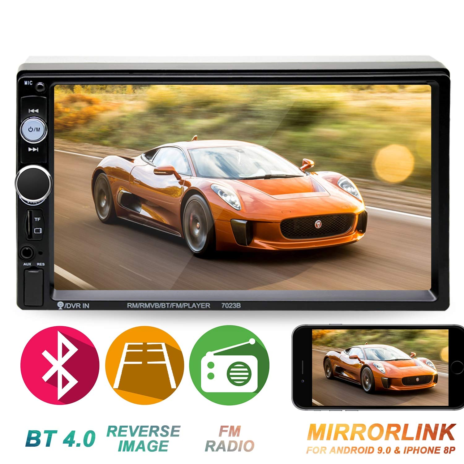 Double Din Car Stereo in-Dash Head Unit Compatible with Bluetooth 7 inch Touch Screen with Rear-View Camera Video MP5/4/3 Radio FM Car Radio Receiver Mirror Link Caller ID by Yakalla