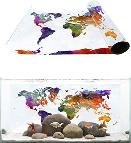 Amazon Com Fantasy Star Aquarium Background Watercolor World Map