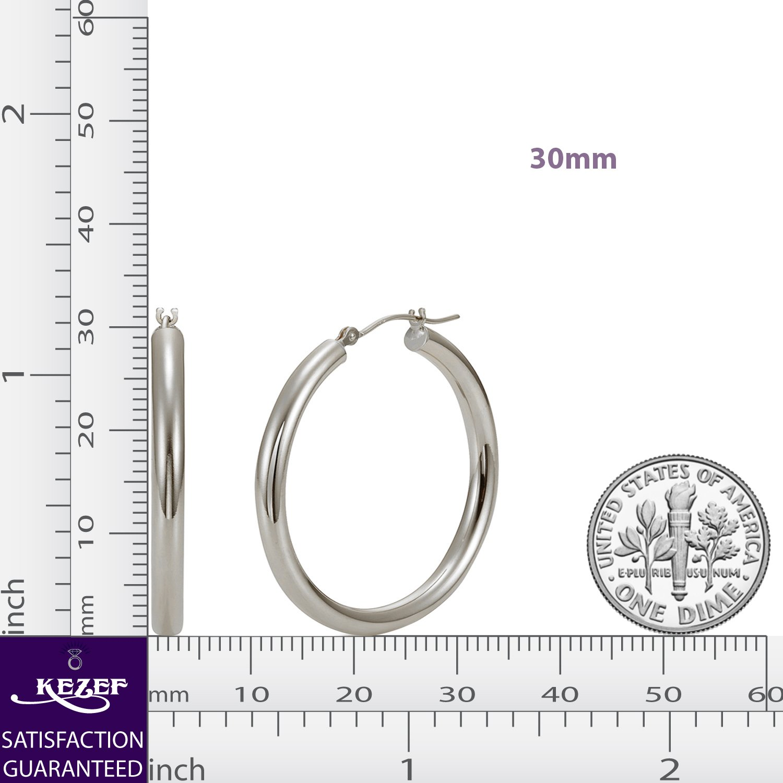 Sterling Silver Hoop Earrings - 3mm x 30mm Click-Top Tube Hoop by KEZEF Creations (Image #6)