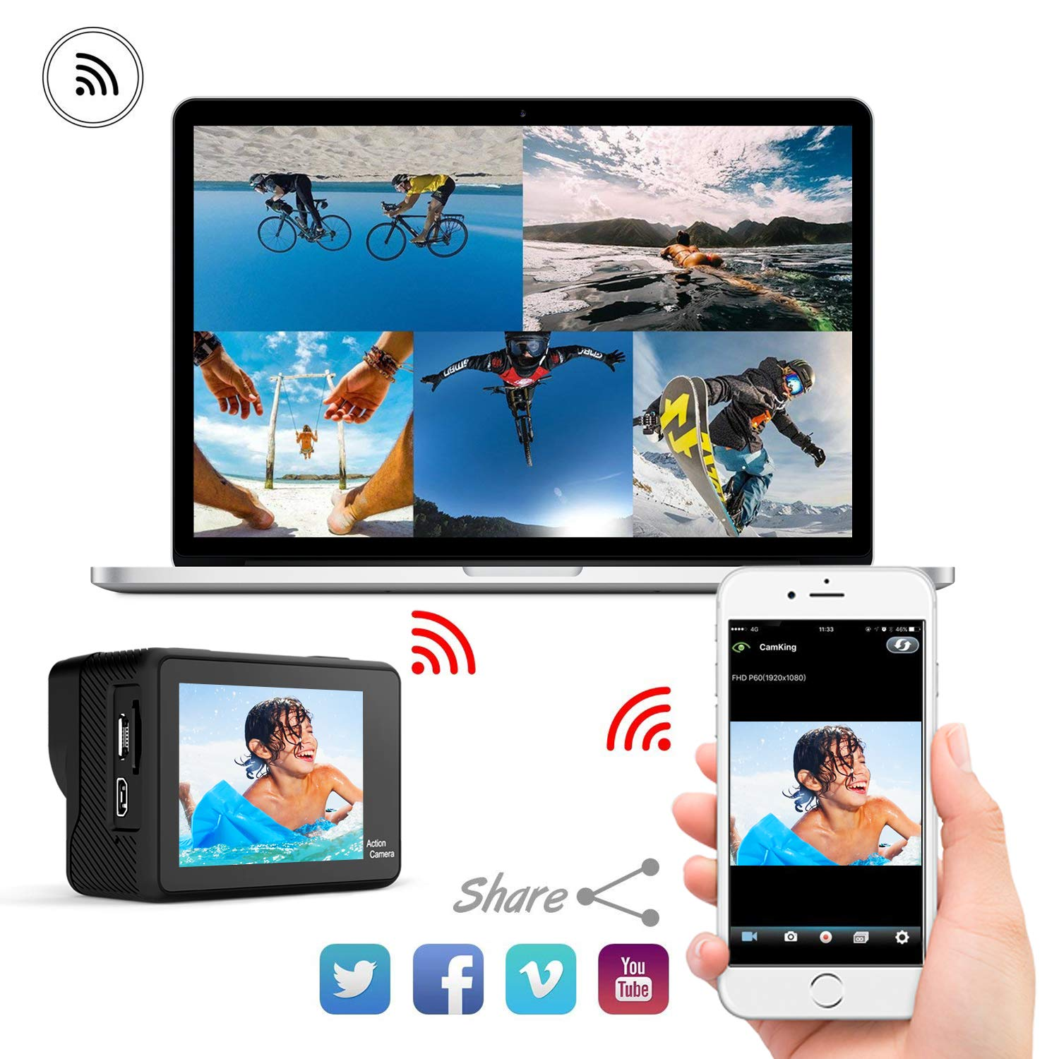 WiMiUS 4K Action Camera 2 Inch Touch Screen 16MP WiFi Sports Camera 30M Underwater Waterproof Camcorder 170 Degree Wide Angle Lens with 2 Rechargeable 1050mAh Batteries and Mounting Accessories by WiMiUS (Image #6)
