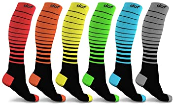 261a53fd3c Unisex Striped DCF Compression Socks (6-Pack)|Enhance blood  circulation|Provide