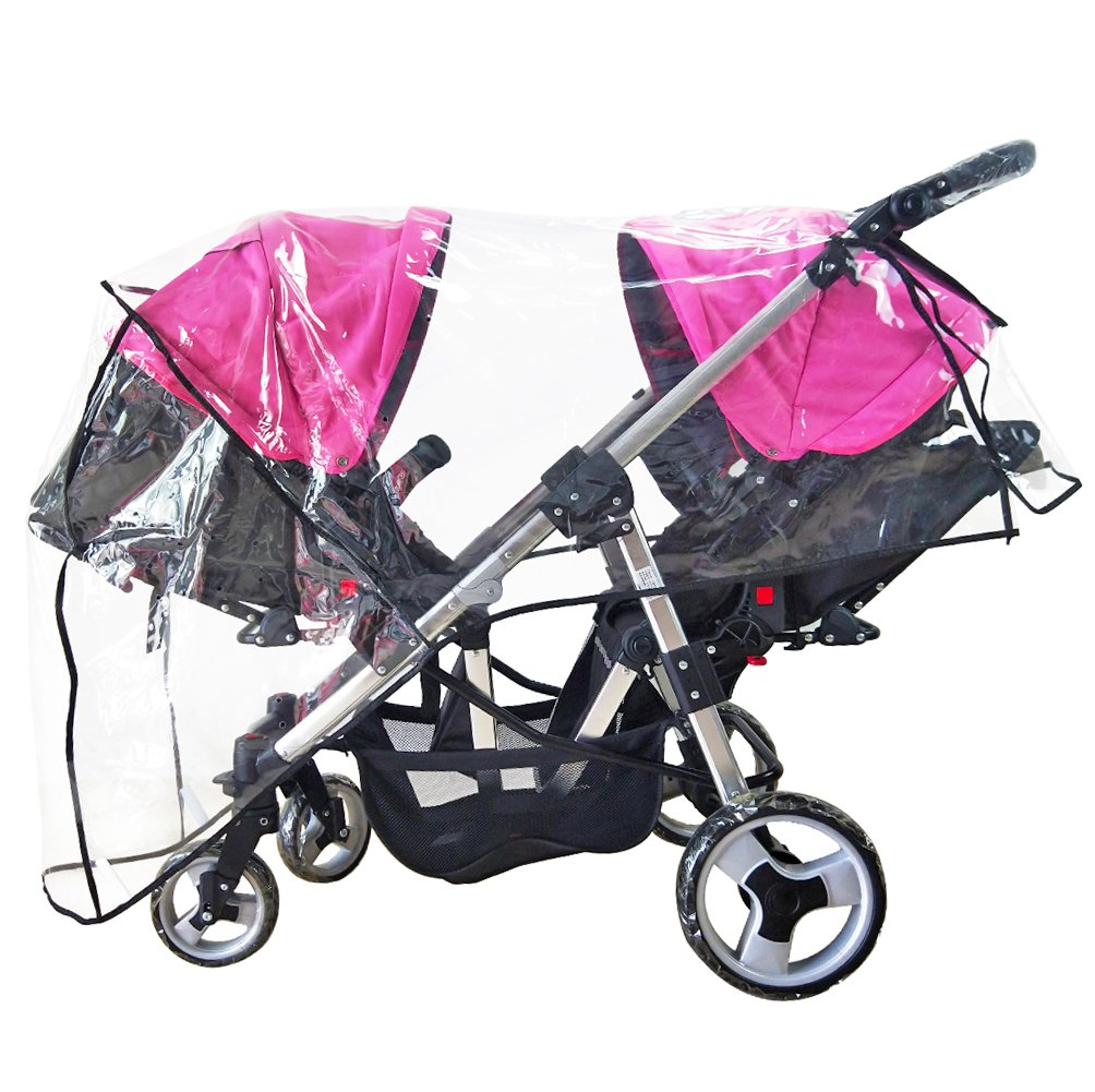 Weather Shield Double Stroller Rain Cover Twin Tandem Universal Size Baby Toddler Wind Shield Deal Popular Accessories Waterproof Windproof Travel Insect Protector (QH) by DMIDEA