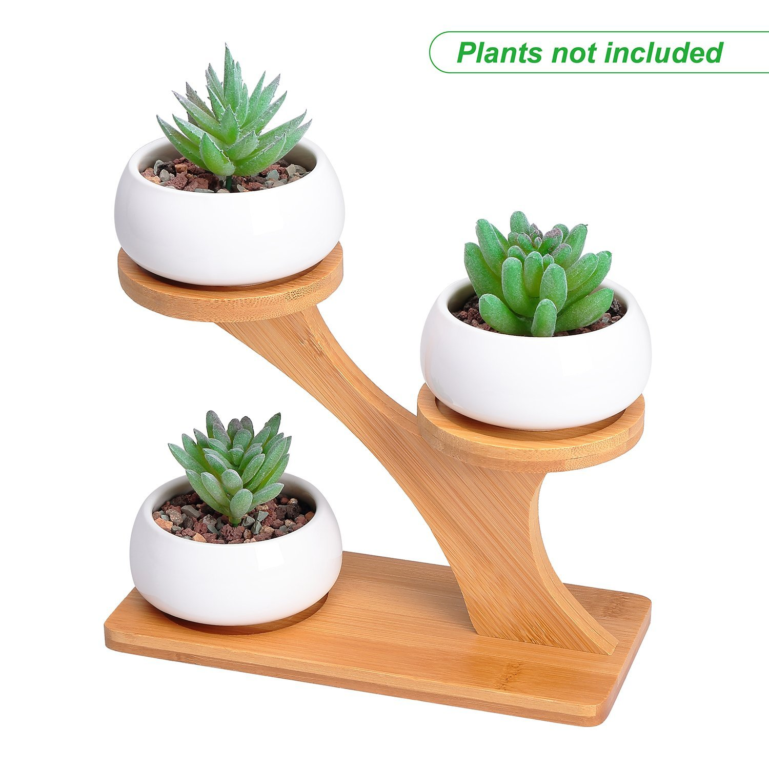 Succulent Pots with 3 Tier Bamboo Saucers Stand Holder - Modern Decorative Ceramic Flower Planter Plant Pot with Drainage - Home Office Desk Garden Mini Cactus Pot Indoor Decoration by Refetone