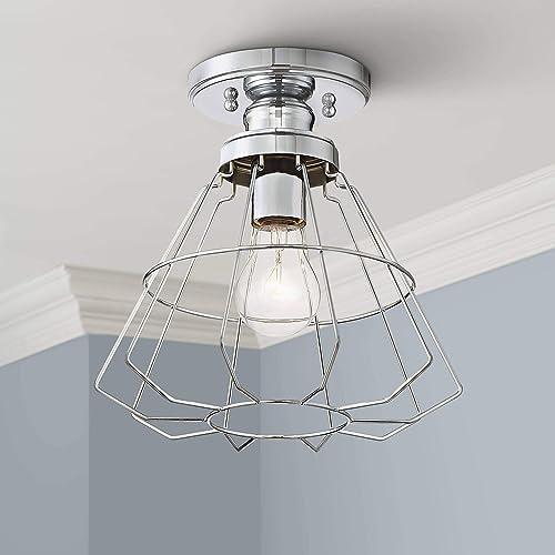 Nicholas Modern Industrial Ceiling Light Semi Flush Mount Fixture Chrome 10 Wide Open Cage for Bedroom Kitchen Living Room Hallway Bathroom – 360 Lighting