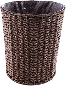 Fcoson Paper Wastebasket Rattan Woven Storage Baskets Decorative Round Trash can for Bedroom Desktop Coffee