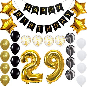 Happy 29th Birthday Banner Balloons Set For 29 Years Old Party Decoration Supplies Gold Black