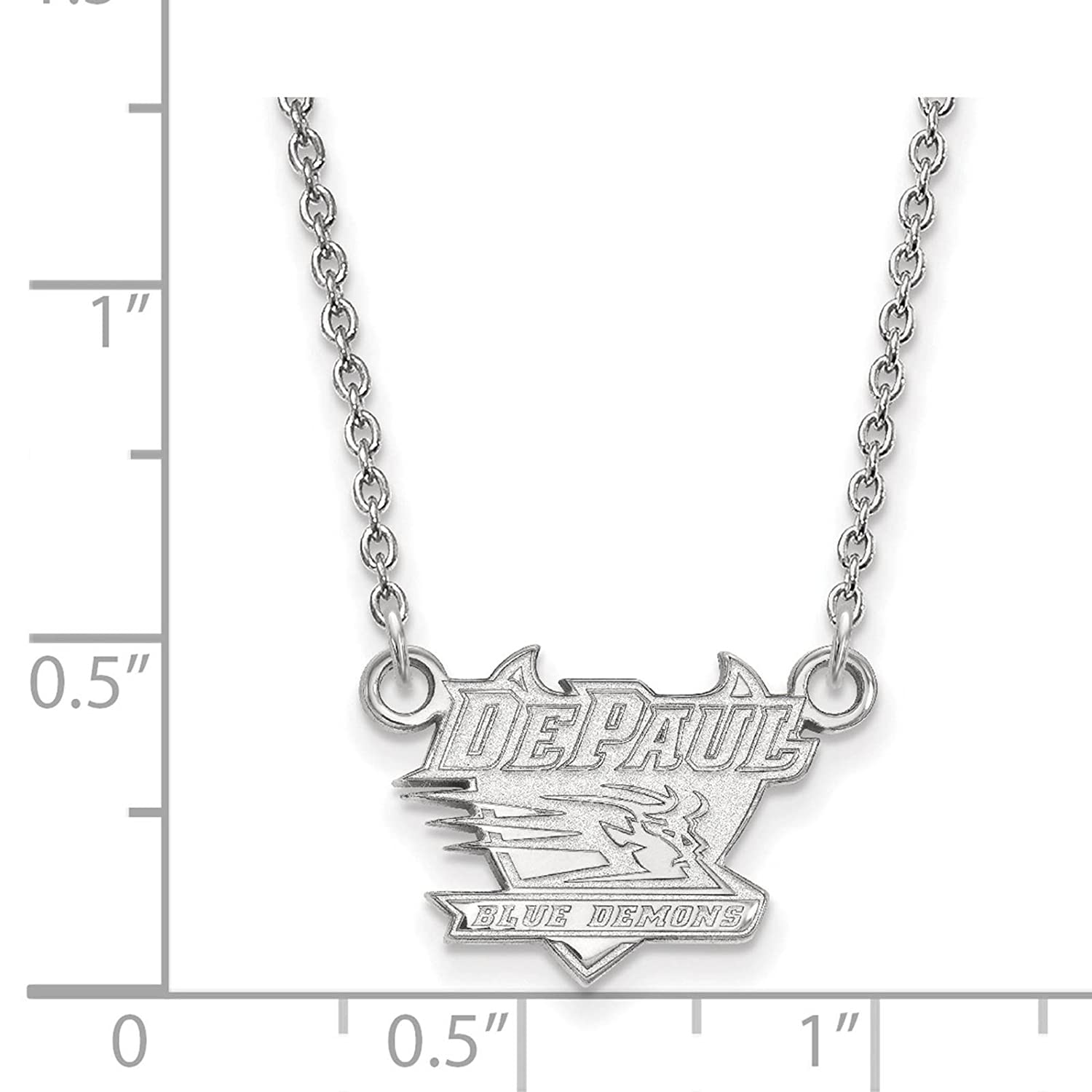 925 Sterling Silver Rhodium-plated Laser-cut DePaul University Small Pendant w//Necklace 18