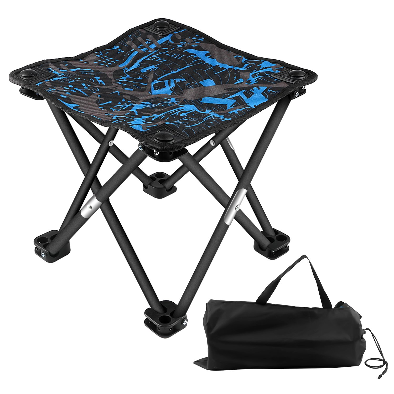 BlueStraw Portable Folding Stool Slacker Chair, Mini Ultralight Outdoor Folding Chair for Camping Fishing Travel Hiking Garden, Quickly-Fold Oxford Stool with Carry Bag