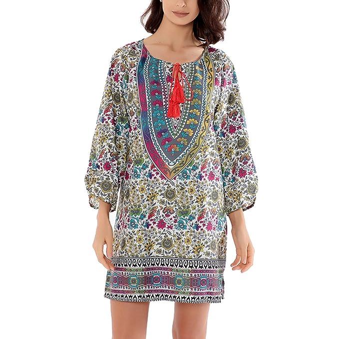AINIMI Mujeres Estilo Nacional Vintage Estampado Floral Cuello Redondo  Vestido Suelto 5ae6340c264
