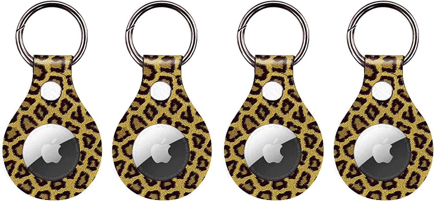 CoKi Anti-Scratch Lightweight Protective Case for Apple Airtag 2021,Leopard Print Cheetah Portable Cover with Accessory for Airtags Keychain, Soft Pets Anti-Lost Tag Holder (1Pcs, Leopard Print)
