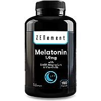 Melatonina 1,9 mg con 5-HTP, Magnesio y Vitamina B6, 180 Cápsulas | Ayuda con el…