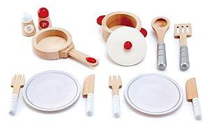 Hape Deluxe White Kitchen Gourmet Cookware Playset, Pretend Play Kitchen Accessories for Kids Preschoolers, Encourages Imaginative Play
