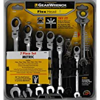 GearWrench 7-Pc. Metric Full Polish Ratcheting Flex Head Combination Wrench Set