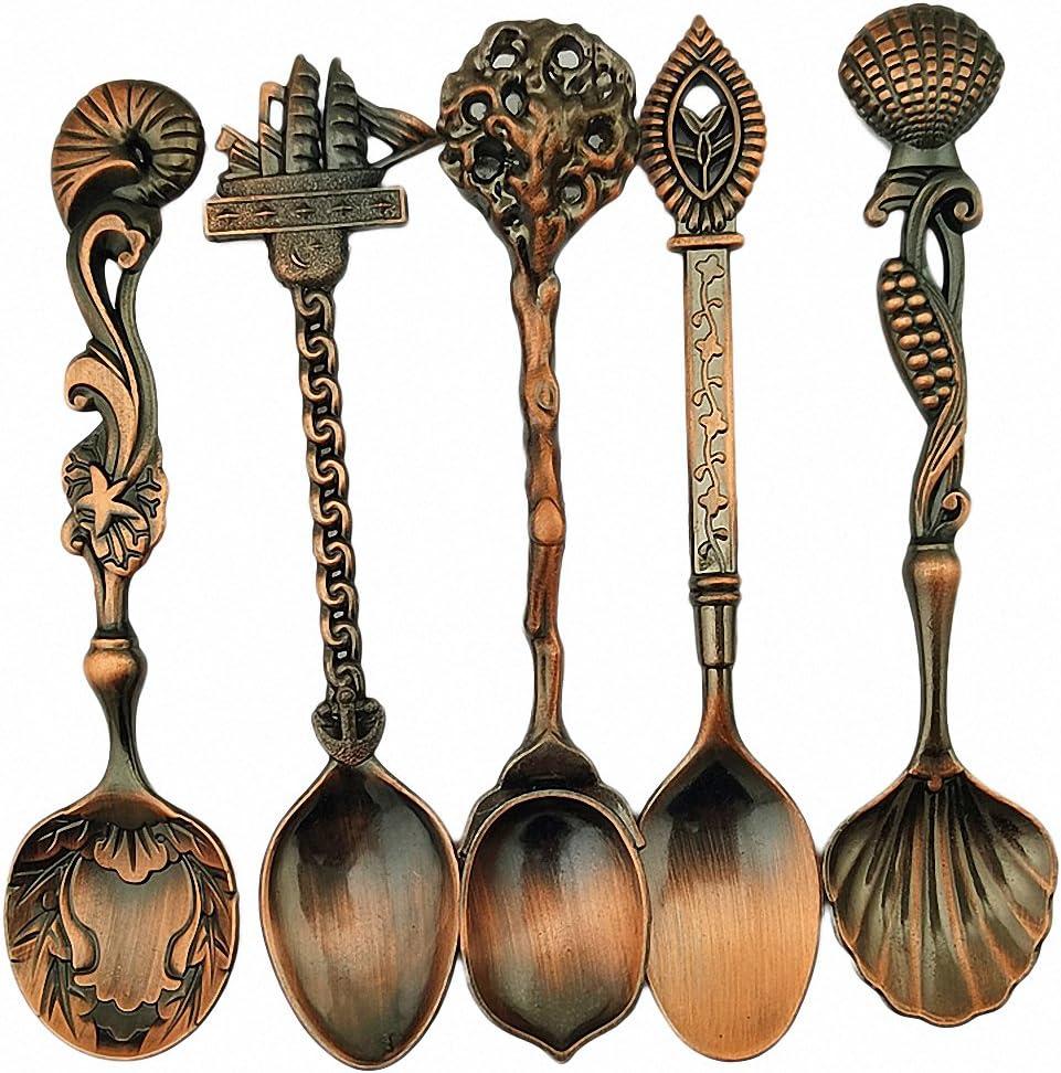NANHONG Upspirit Cuill/è res /à Caf/é et Petites Fourchettes en Bronze Style Royal Vintage Sculpture