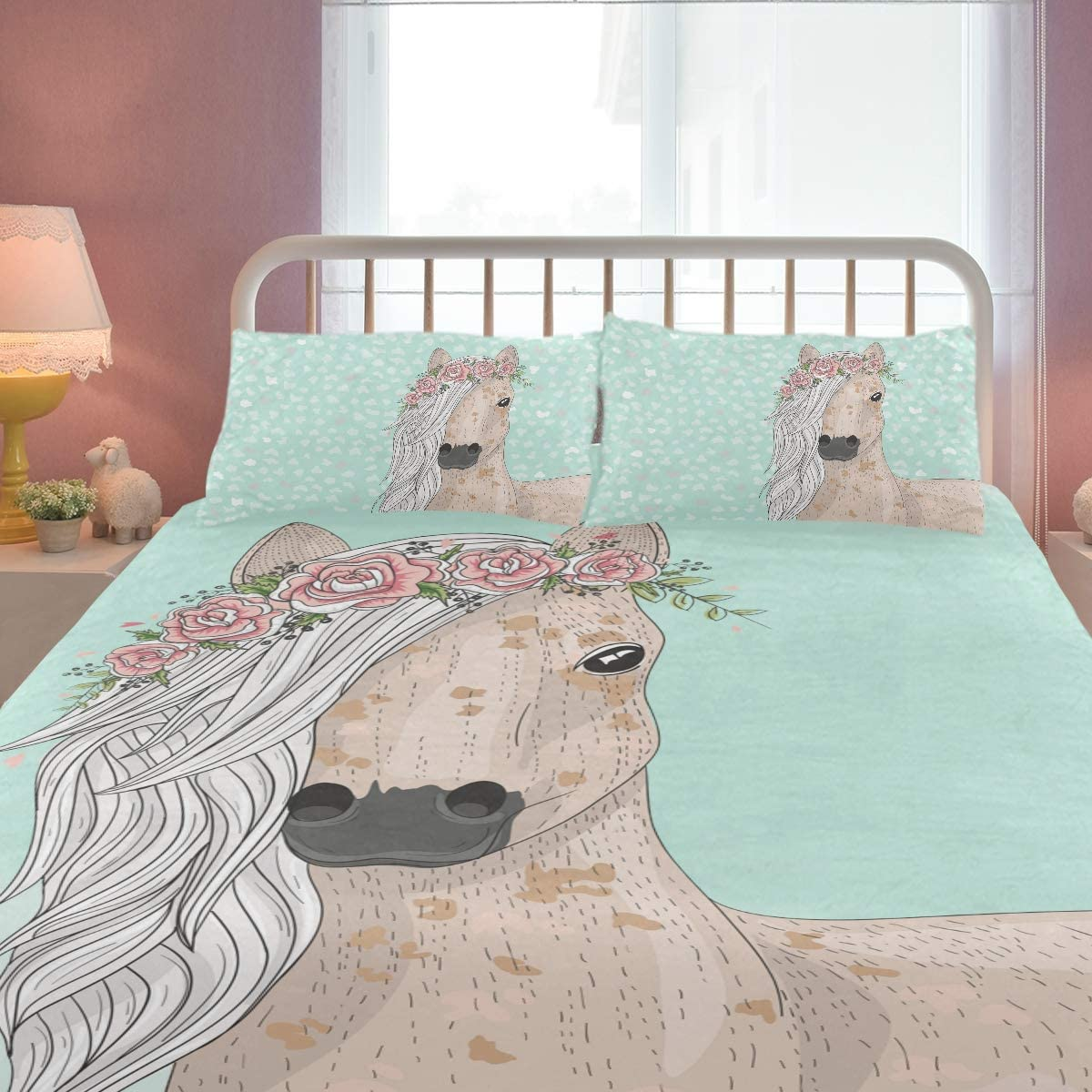 Zoeo Pony Twin Bedding Set Blue Horse Heart Wedding Floral Bed Sets Cartoon Cute Duvet Cover Pillow Cover Set 3 Pieces For Girls Teens Women Home Kitchen