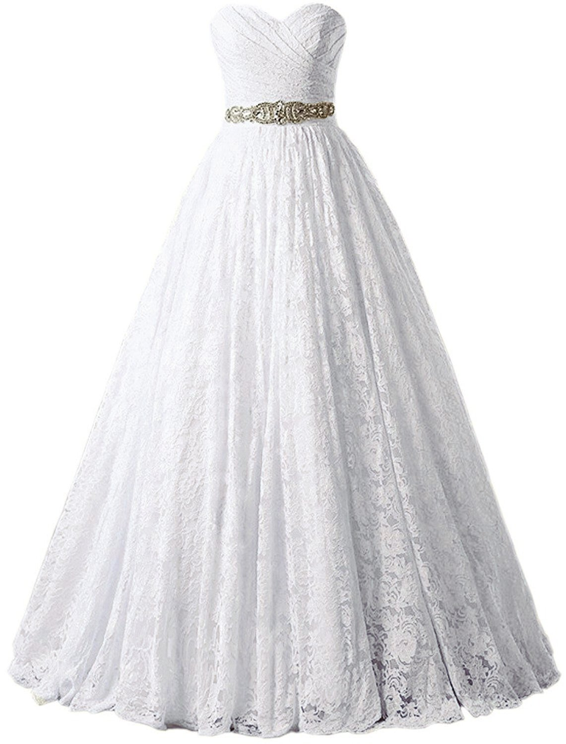 Solovedress Women's Ball Gown lace Princess Wedding Dress 2017 Sash Beaded Bridal Evening Gown (US 16,White)
