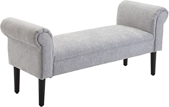 Amazon Com Homcom 52 Linen Upholstered Accent Ottoman Bench With Armrests Light Grey Furniture Decor