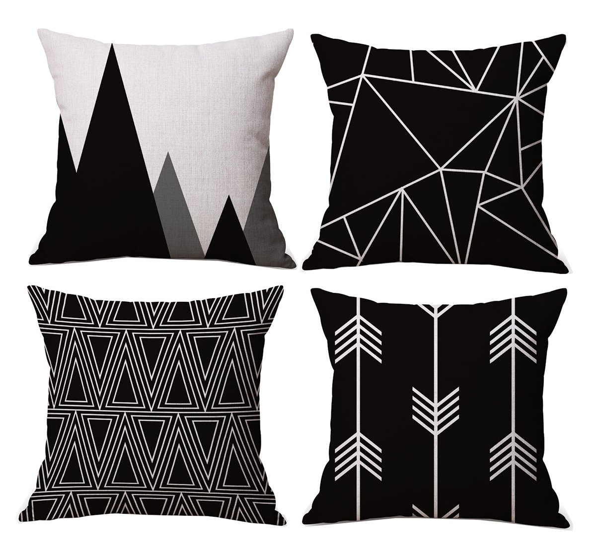 Cotton Triangle Pillow Cases Sofa Cushion Square Pillow Covers Set of 4