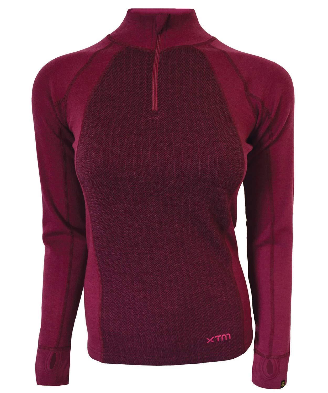 XTM Ladies Merino Zip Neck Top (8, Burgundy) by XTM