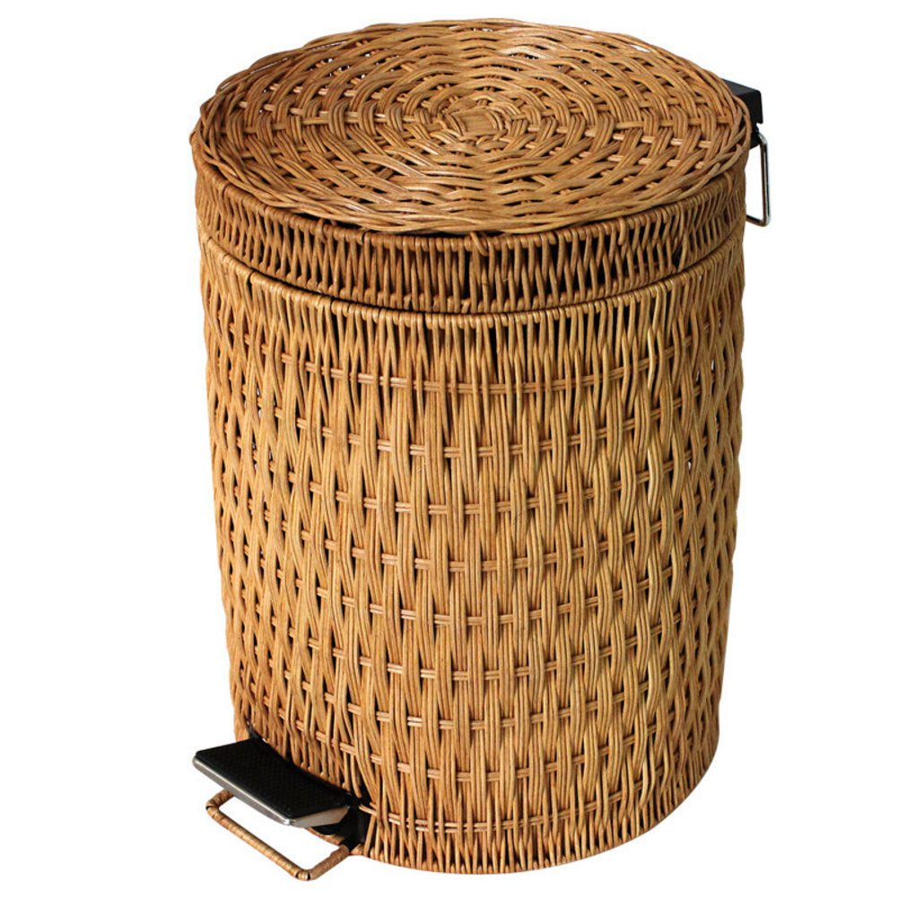 Wrash peut Step trash peut,Osier de rotin & Amovible Poubelle dans la maison et la cuisine Poubelle avec couvercle Tour de trash can-E xnhmnm