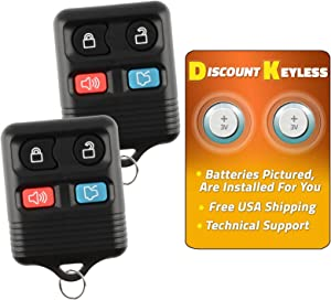 Discount Keyless Replacement Keyless Entry Car Remote Control Key Fob Clicker Compatible with Fod Lincoln Mercury (2 Pack)