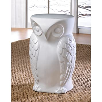 Marvelous Wise White Owl Ceramic End Table Or Decorative Seating Stool Or Plant Stand