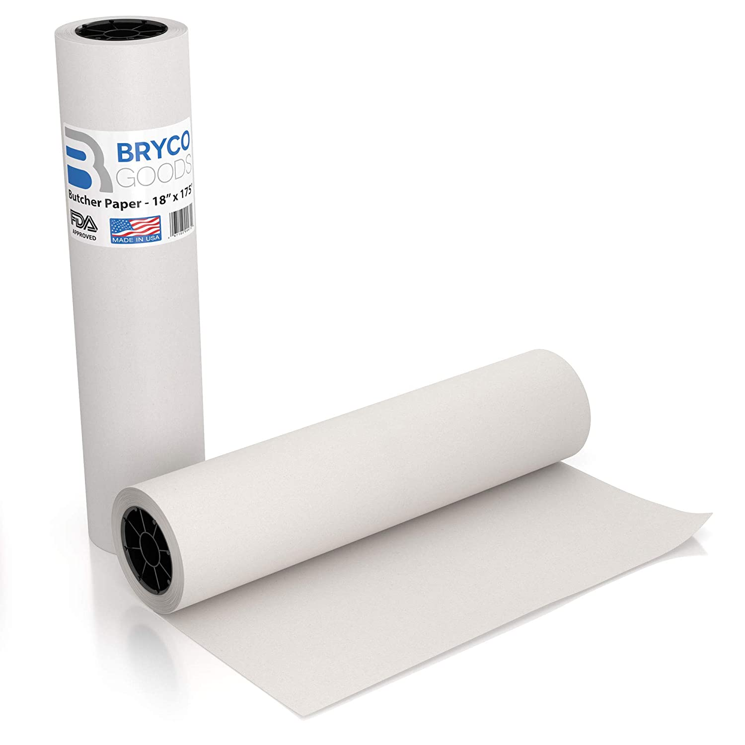 White Kraft Butcher Paper Roll - 18 inch x 175 Feet (2100 inch) - Food Grade FDA Approved – Great Smoking Wrapping Paper for Meat of All Varieties – Made in USA – Unwaxed and Uncoated